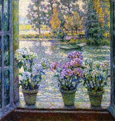 ✿Flowers at the window door✿ Hydrangeas - Henri Le Sidaner - The Athenaeum Mauritius, Window View, Window Ledge, Maurice, Henri Matisse, French Artists, Monet, Lovers Art, Art Boards