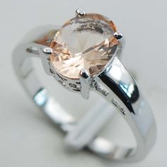 Magric Sterling Silver Plated Rings Morganite