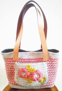 Handcrafted crochet handbag w/ pink flowers & by TheGreenHouse222