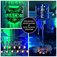 Jack's Lacrosse Wrestling Glow Themed Bar Mitzvah Party Decorations by Cutie Patootie Creations - Lime Green Navy Blue and White - SHOP www.cutiepatootiecreations.com