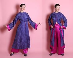 RARE 1930's Chinese Pure Silk 2 Piece Lounging Boudoir Pajamas in Violet Purple / Schiaparelli Pink - Hourglass Jacket & Wide Leg Pants - ML by butchwaxvintage on Etsy https://www.etsy.com/listing/231988838/rare-1930s-chinese-pure-silk-2-piece