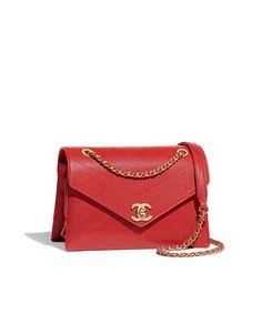 Flap bag, lambskin & gold-tone metal-red - CHANEL