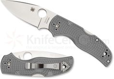 "Spyderco C41PGY5 Native 5 Lightweight Folding Knife 2.95"" Maxamet Satin Plain Blade, Gray FRN Handles - KnifeCenter"