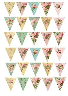 30 Shabby Chic Bunting Floral Rose Cake/Cupcake Rice Paper Toppers