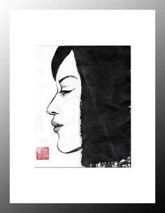 """Digital Download, """"Profile of a Japanese Girl"""", Japanese Art, sumi-e, Wall decor, by ZenPresent on Etsy"""