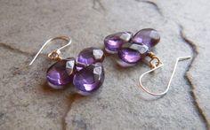 Amethyst Gemstone Earrings Purple Violet by JulieEllisDesigns