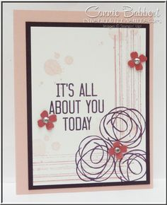 Snuggles and Smooches, Gorgeous Grunge, Hooray It's Your Day, flowers, color challenge, Stampin' Up!, #stampinup, Connie Babbert, www.inkspiredtreasures.com