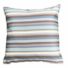 Do4U Home Decor Throw Pillow Case Cushion Cover Waterproof Hand Made For Travel Use Outdoor Rattan Sofa Bed 18 x18 inches Blue Stripe ** You can find out more details at the link of the image. Note: It's an affiliate link to Amazon