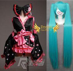 I found 'VOCALOID Hatsune Miku Sakura Kimono Lolita Cosplay Costume Dress Set + Wig' on Wish, check it out!