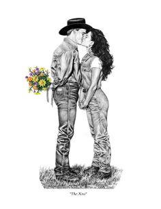 Cowboy and Cowgirl Kiss