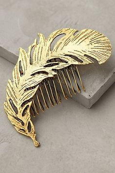 Gold Feather Comb - anthropologie.com #anthroregistry