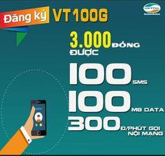 Đăng ký gói VT100G Viettel 3000đ