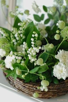 Lily of the Valley Accented Floral Basket Planter