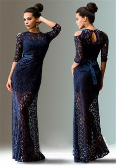 Lace Hollow Out Transparent Half Sleeves Long Dress - Oh Yours Fashion - 4