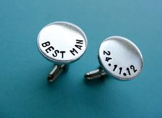 Personalized Best Man Cufflinks - Custom Best Man Aluminum Cuff links. $18.00, via Etsy.
