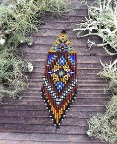 Items similar to novelty earrings ethnic Native American Navajo novel woven miyuki beads on Etsy Seed Bead Jewelry, Bead Jewellery, Seed Bead Earrings, Fringe Earrings, Etsy Earrings, Seed Beads, Aztec Earrings, Beaded Earrings Patterns, Beading Patterns