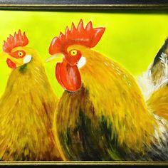 Oelbilder zeigen in den Farben immer einen starken Ausdruck; erst recht, wenn es bei Hühner um farbenstarke Tiere handelt. . #oelbilder #oelmalerei #tierbilder  #hennen #hahn #wiesen #henne  #geflügelhof #hühnerstall #Legehennen #hühnerfutter #geflügelhaltung #geflügelfutter #körner #suppenhuhn Hahn, Rooster, Animals, Pet Pictures, Animales, Colors, Animaux, Animal, Animais
