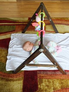 Hand Made Wood Baby Gym Structure Natural Play Mat Hanging Toys // Unique Folding // Sensory Development