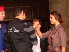 """Primer día de rodaje de """"Un Dios prohibido"""". Pablo Moreno, director, y Elena Furiase. www.undiosprohibido.com"""