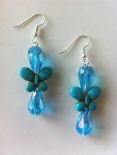 Earrings - Crystal Turquoise Teardrops with Howlite Butterflies - BEAUTIFUL!!!