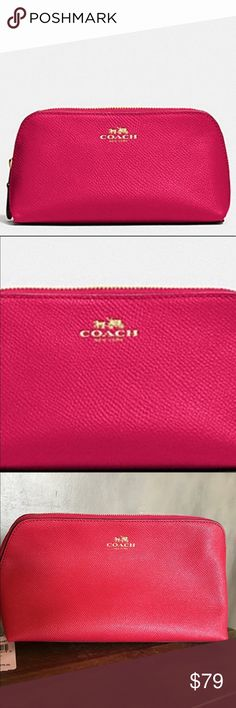 Coach Red Cosmetic Bag Coach cosmetic bag in a pinkish red cross grain leather and gold finish. NWT never used. 2 extra pocket inside. Coach Bags Cosmetic Bags & Cases