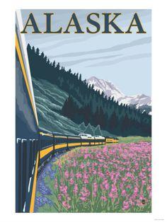 #WINTER Vintage Travel Poster - USA - Alaska. Winter