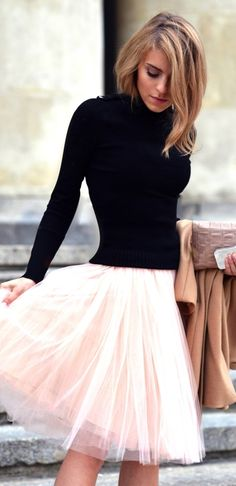 pink tulle + black long sleeves