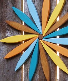 """Starburst Swirl Rustic Wooden Wreathl! - Colorful 17"""" Wall Hanging for Outdoor & Indoor Decor - Choose Your Favorite Stain Colors!"""