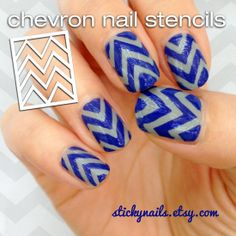 Stencil nail stickers  Chevron  use your own polish by Stickynails, $9.50