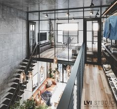 Industrial and scandinavian. Industrial Scandinavian, Industrial House, House Construction Plan, Salons Cosy, Interior Architecture, Interior Design, Cool Apartments, Small Space Living, Decoration