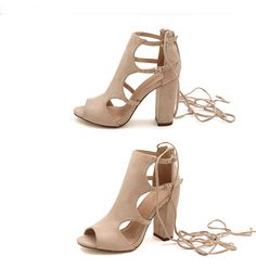 7266bc431d1b Beige High Heels Pop Toe Sandals Gladiator Shoes