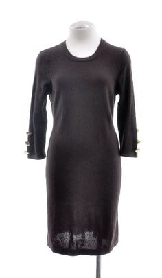 Aqua Chocolate Brown Cashmere 3/4 Sleeve Gold Button Accented Sleeve Pullover Sweater Dress $79.99 (49% OFF)