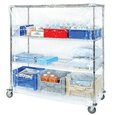 Quantum Storage Systems Wire Cart Cover with Zipper Flap, 10 Gauge Vinyl, Clear, Width x Length x Height Wire Shelving Units, Shelving Systems, Storage Systems, Storage Bins, Storage Cabinets, Storage Solutions, Storage Ideas, Kitchen Rack, Kitchen Storage