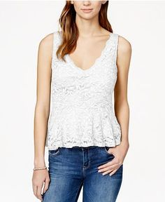American Rag V-Neck Lace Peplum Top: V neckline. Pullover style. Sleeveless. Allover lace. Easy fit. Lined. Peplum hem. Hits at hip. Machine washable. XXS XS $49.50