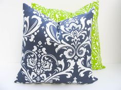 Pillow. Throw Pillow Covers 18x18 .Decorative Throw Pillow Covers.Navy Pillow.Lime Green Pillow.Printed Fabric front and back