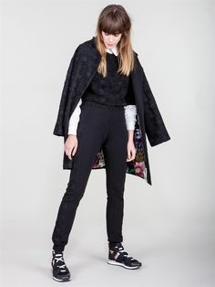 Naughty Dog FW1617 coat, blouse and trousers all decorated with lace macramé flower fantasy