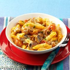Penne & Sausage Casseroles Recipe -Cheese, sausage and mushrooms make this casserole a consistent hit. It comes together quickly and feeds a crowd, too. —John Venturino, Concord, California