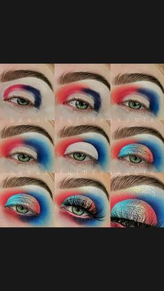 Rainbow Eye Makeup, Pink Eye Makeup, Makeup Eye Looks, Eye Makeup Art, Eyeshadow Makeup, Eyeshadow Ideas, Eyeshadow Tutorials, Makeup Looks Tutorial, Eye Tutorial