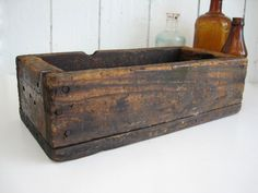 Vintage Wood Box Crate Long Narrow Rectangular Storage Rustic Primitive Display Fairy Garden Planter Home Decor by OldStoneFarmhouse (20.00 USD)