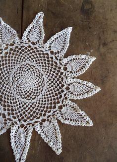 Large Vintage Doily Crochet Home & Living Home Decor White Farmhouse Cottage Shabby Chic Handmade Linens Crocheted Bohemian Table Decor by SPARKLESandSASS on Etsy https://www.etsy.com/listing/258263024/large-vintage-doily-crochet-home-living
