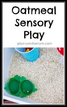 Plain Vanilla Mom: Oatmeal Sensory Play
