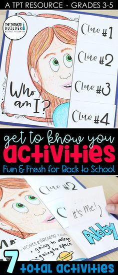 """Fresh get-to-know-you activities for the beginning of the year! Like this """"Who Am I?"""" poster with flip-open clues (great for a back to school bull. Get To Know You Activities, First Day Of School Activities, 1st Day Of School, Beginning Of The School Year, Middle School, School Pens, 4th Grade Classroom, Classroom Ideas, Back To School Bulletin Boards"""