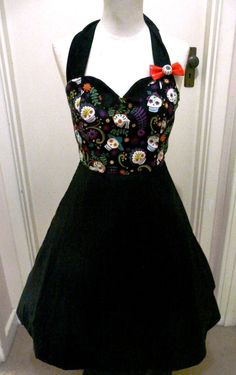 Day of the Dead Dress Sugar Skull Pin Up van BettieDreadful op Etsy