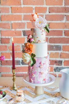 Playful And Vibrant Ontario Styled Shoot Whimsical Wedding Cake