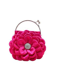 In Stock Faboulous Rosy Floral Satin Silk Evening Handbags /  Clutches With Stainless Steel Wrist #selectprom