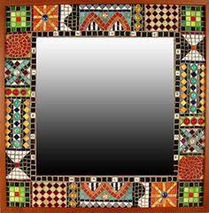 Mirror, Mirror on the Wall Mosaic Mirror with lettering on the inner border and a bright mosaic pattern