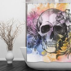 "Watercolor flower & skull design shower curtain. These curtains measure 69"" x 70"" or 70"" x 90"" and are 100% polyester. I print your custom image right onto the fabric using a process that is soft to t"