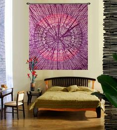 Traditional purple star hippie tapestry