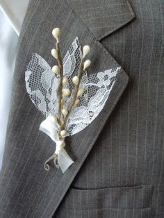 Lace and Twigs Winter Wedding Boutonnière