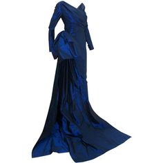 Preowned Christian Dior Haute Couture Long Blue Gown Provenance Betsy... (16 695 AUD) ❤ liked on Polyvore featuring dresses, gowns, vintage, blue, long dresses, blue dress, long gowns, long sleeve evening dresses, long-sleeve maxi dress y vintage evening gowns